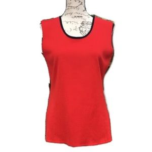 Misook sleeveless knit top red black small